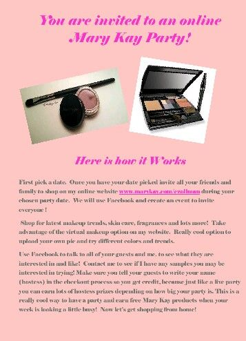 Online Mary Kay Party! www.marykay.com/dcriner