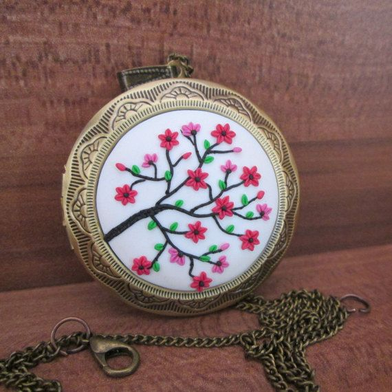 pink flower locket pendant christmas gifts for mom fashion vintage style by FloralFantasyDreams on Etsy