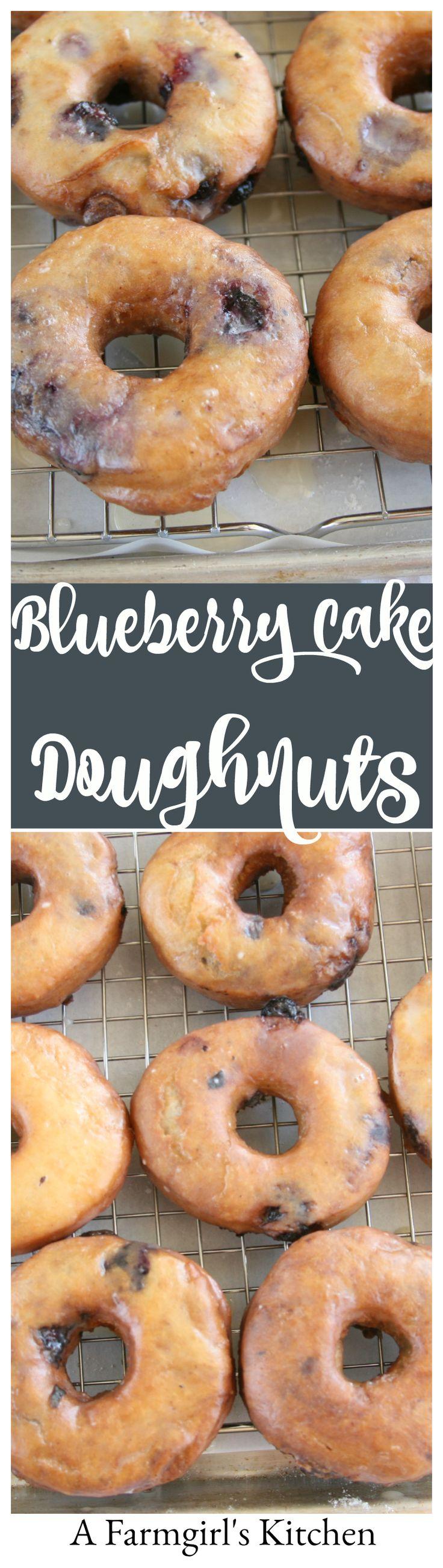Blueberry Cake Doughnuts #recipe #homemade #foodblogger http://afarmgirlskitchen.com/blueberry-cake-doughnuts/