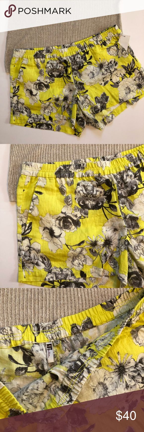 Floral elastic waist shorts Cream and tan floral on yellow. Elastic waist. Pockets. Brand new with tags. Can fit an XL or XXL. Brand new with tags. Kut from the Kloth Shorts