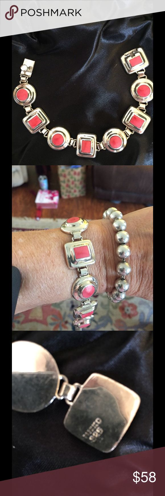 Vintage Sterling Coral Stone Bracelet Beautiful bracelet was in a old pawn lot i purchased. Has coral color stones set in sterling silver. Heavy weight measures about seven and a half inches.No lowball offers will be accepted. Jewelry Bracelets