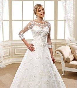 There are several three quarter length sleeve a-line wedding gowns on our site. We can always add a sleeve to any design as well.