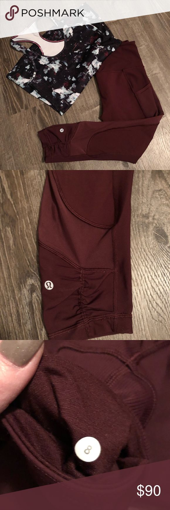 Lululemon Capris - like new! Cute details! Like new Lulus.  Only worn a couple times.  No piling as you can see in picture.  Capri length as seen in picture.  Lots of cute details on these from mesh sides, pockets, and cinching at the legs.  Size 8.  Top for sale also in another listing (not included!) lululemon athletica Pants Leggings
