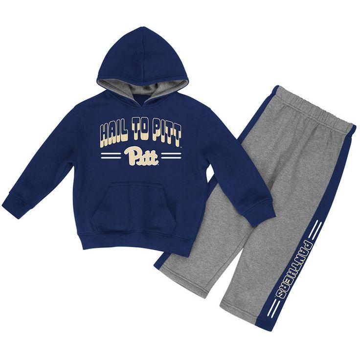Pitt Panthers Colosseum Newborn & Infant Punter Fleece Hoodie and Pants Set - Navy/Heathered Gray