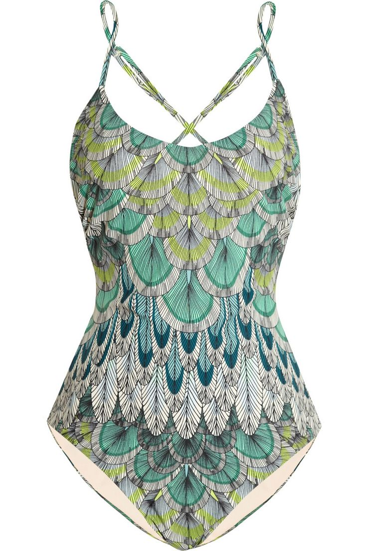 Mara Hoffman | Feather-print swimsuit | NET-A-PORTER.COM