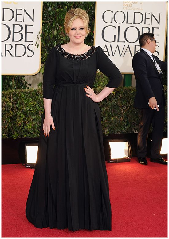 Adele @ 2013 Golden Globes Photos – Makeup, Dress, Hair