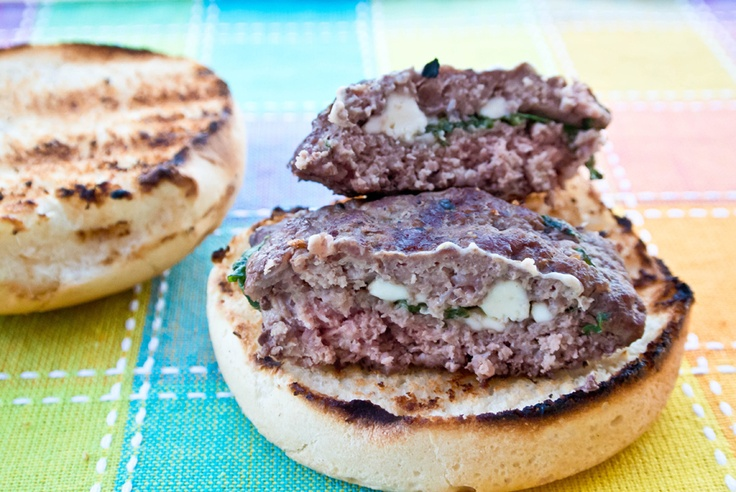 Stuffed Feta & Spinach Sliders!! Make with ground turkey meat...mmm ...