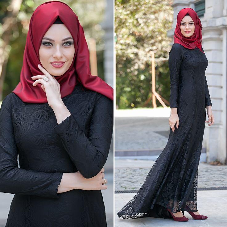 New Kenza - Dantel Detaylı Siyah Balık Elbise #tesettur #tesetturabiye #tesetturgiyim #tesetturelbise #tesetturabiyeelbise #kapalıgiyim #kapalıabiyemodelleri #şıktesetturabiyeelbise #kışlıkgiyim #tunik #tesetturtunik