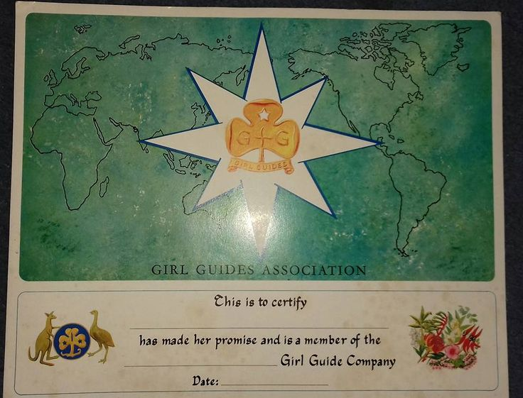 Old Girl Guides Australia Guide Promise Certificate.