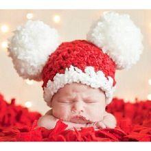 Красный крючком для маленьких девочек шляпа Новогодние товары костюмы для Обувь для девочек Fotografia новорожденных фотографии Интимные аксес...(China)