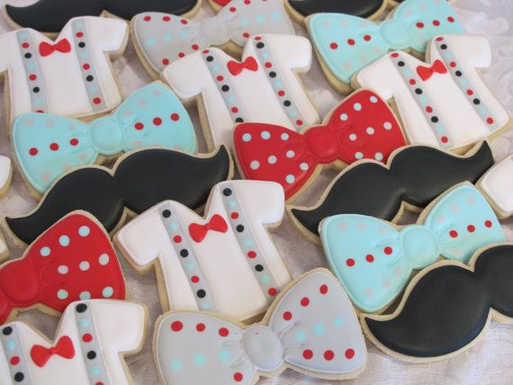 Little Man Sugar Cookies Birthday Party Cookie Favors Baby