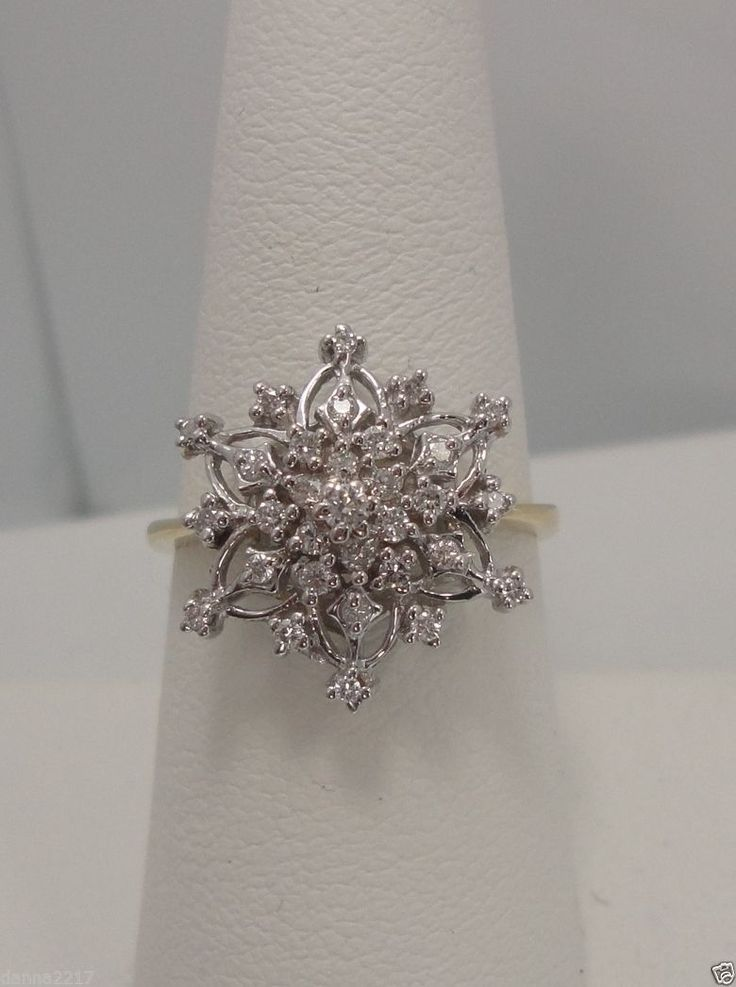 Franklin Mint 14k Yellow Gold White Gold Snowflake Diamond Ring RARE Find | eBay