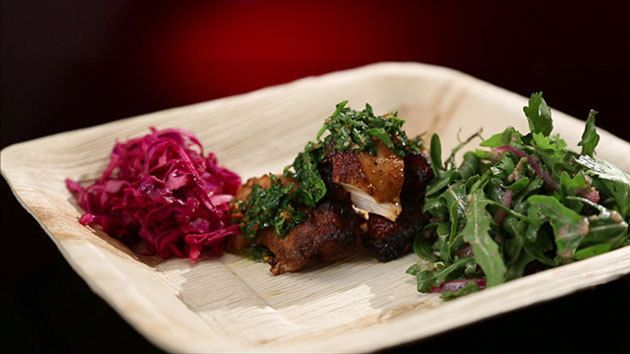 Chicken Adobo Tortillas with Pomegranate and Lime Salad