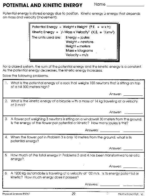Potential And Kinetic Energy Worksheet Answers