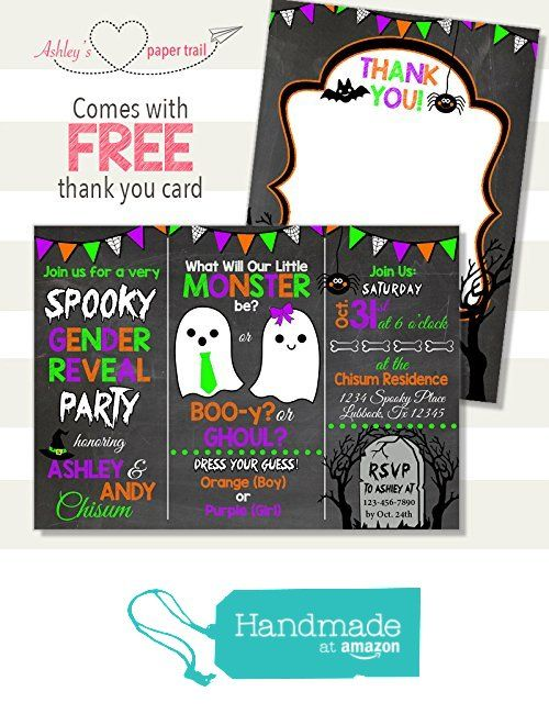 Halloween Gender Reveal Invitation - Digital File or Prints from Ashley's Paper Trail  What will our little monster be? Boy or Girl? Boo or Ghoul? Purple, Orange, Lime Green, Black