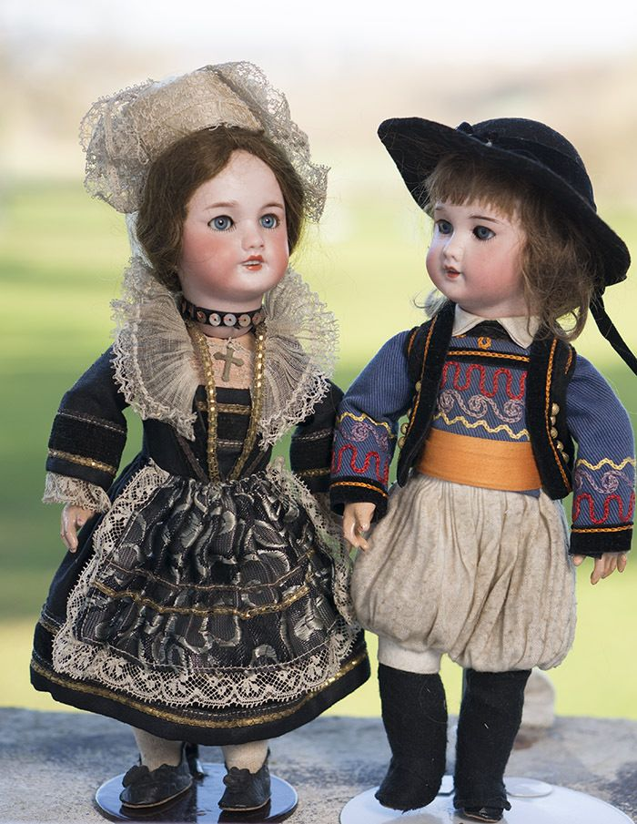 """10 1/2"""" (27 cm) Pair of SFBJ dolls Bleuette size with French regional costumes"""