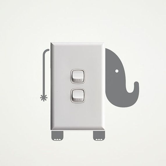 Elephant Wall Decal for Light Switches by vinylwalldesign on Etsy