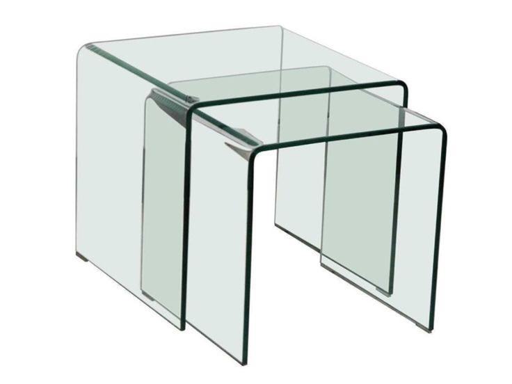 Beistelltische Glas 2er Set quadratisch SALE