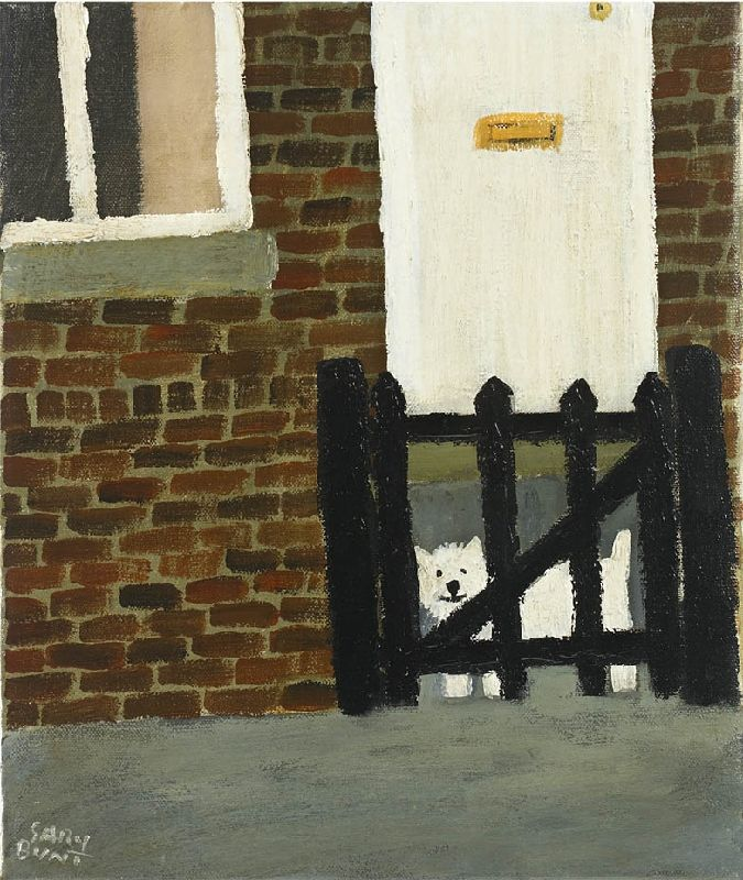 Gary Bunt | White Dog, Black Gate A white dog lives in a house With a black gate Next door lives a black dog He's the white dogs best mate