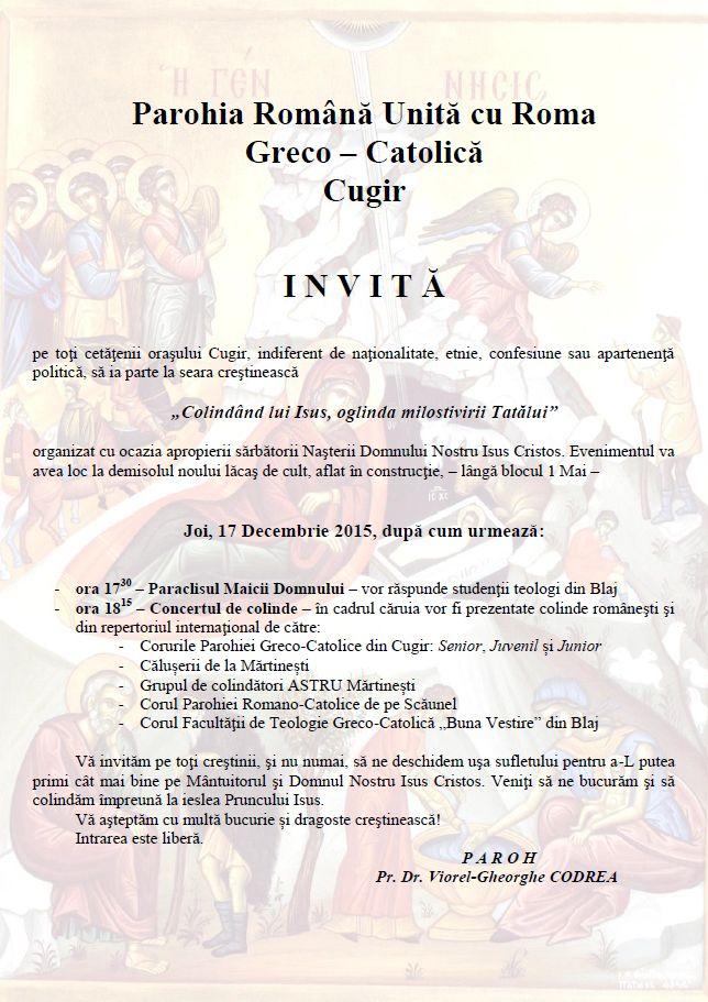 Invitație la Concert de Colinde AD 2015 - Afiș