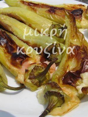 μικρή κουζίνα: Πιπεριές κέρατα, ψητές με τυρί και γαλοπούλα