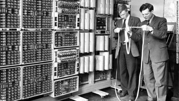 Reading a tweet in the 1950s.