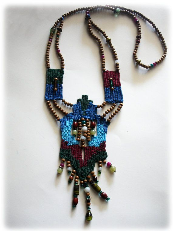 cotton handwoven necklace/ boho long necklace/ ethnic jewelry/ tribal necklace/ blue & claret jewelry