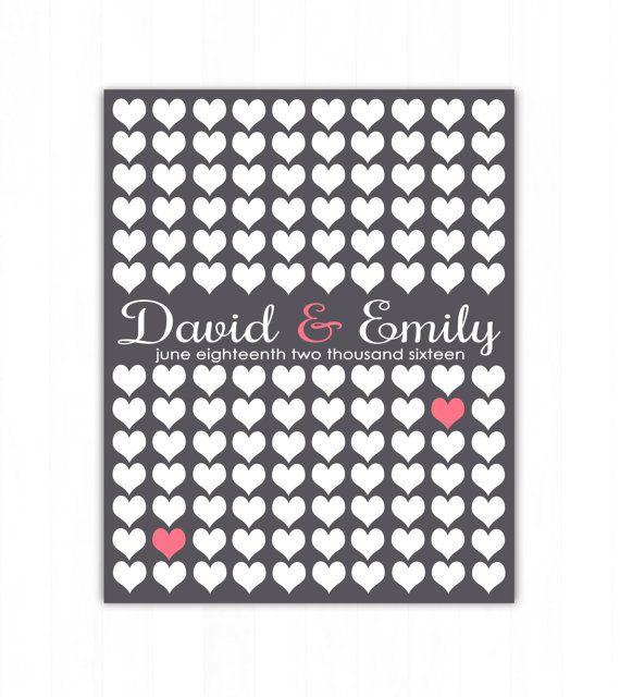 Hearts Wedding Guest Book Alternative Art Print, Custom Hearts Wedding Guest Book Poster, Signature Heart Wedding Guestbook, 130 Guests, Bridal Shower Gift, Wedding Present by Caldson Designs