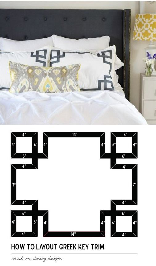 greek key sham pattern. Thinking this May get cute to make for a pillow sham in the master bedroom.