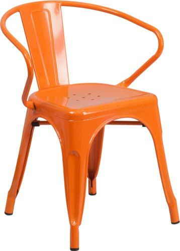 Style Orange Metal Restaurant Chair With Arms Indoor Outdoor