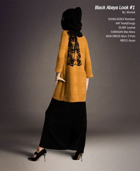 Abaya is matched with a colored cardigan. What an excellent way to personalize your hijab / modest clothing!