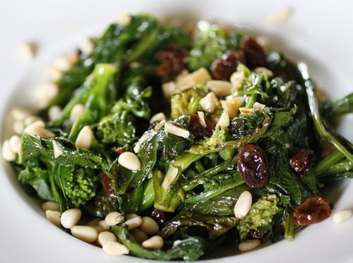 Broccoli Rabe with toasted pine nuts, fennel and hot italian sausage. Bring. It. On.