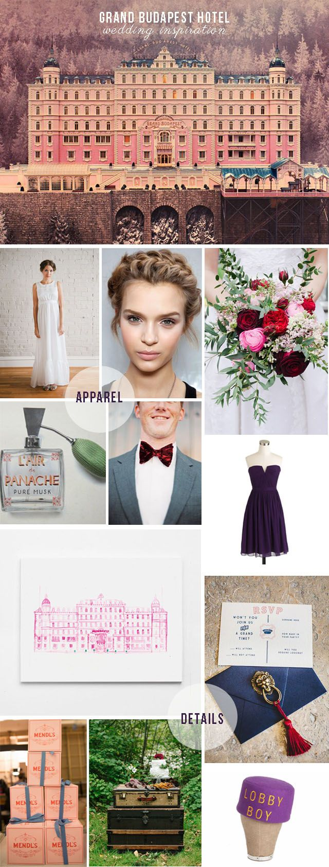 I saw Grand Budapest Hotel back in late winter and have wanted to do a wedding inspiration collage ever since. As usual, the movie had the Wes Anderson staples of vibrant colors and picture perfe...