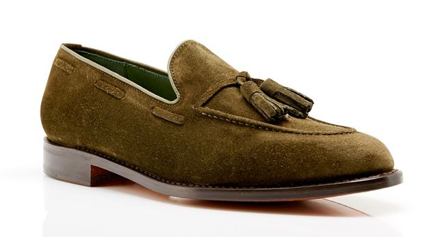 Kimber Shoes Green Suede Tassel Loafers www.theshoesnobblog.com
