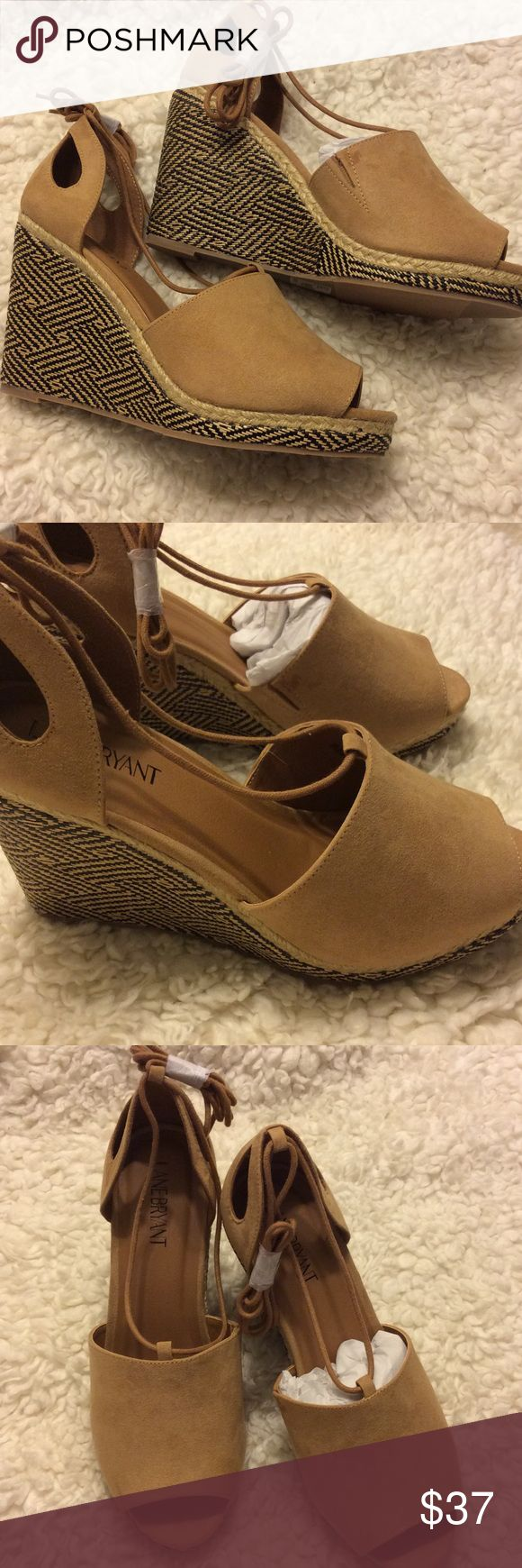 "Lace Up Wedge Sandal Gorgeous tan lace up wedges. These are wide widths 9W. 4""H Lane Bryant Shoes Espadrilles"