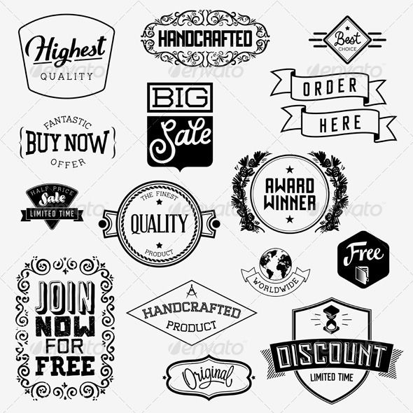Vector Vintage Badges #vector #eps #ribbon #template • Available here → https://graphicriver.net/item/vector-vintage-badges/5960413?ref=pxcr