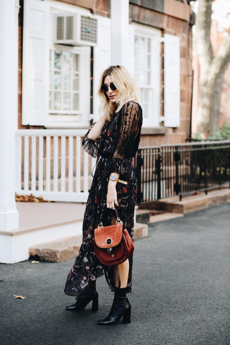 Black floral print sheer maxi dress + black booties + brown purse