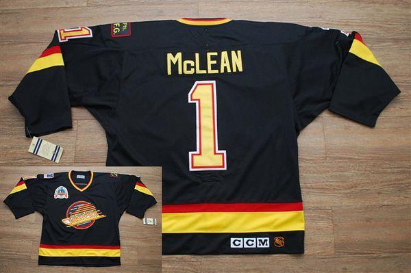 Men Vancouver Canucks #1 Kirk Mclean Stitched Black CCM Throwback Vintage NHL Jersey