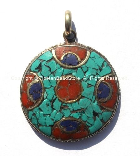 Tibetan Pendant - Round Pendant with Brass, Turquoise & Copal Coral Inlays - WM547