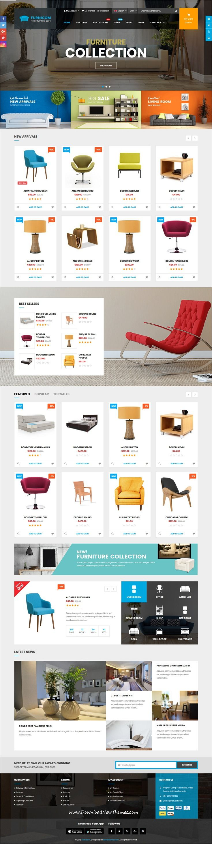 Furnicom is clean and modern design 3in1 responsive #Shopify theme for stunning #interior, furniture #shop #eCommerce website with drag & drop builder to live preview & download click on Visit