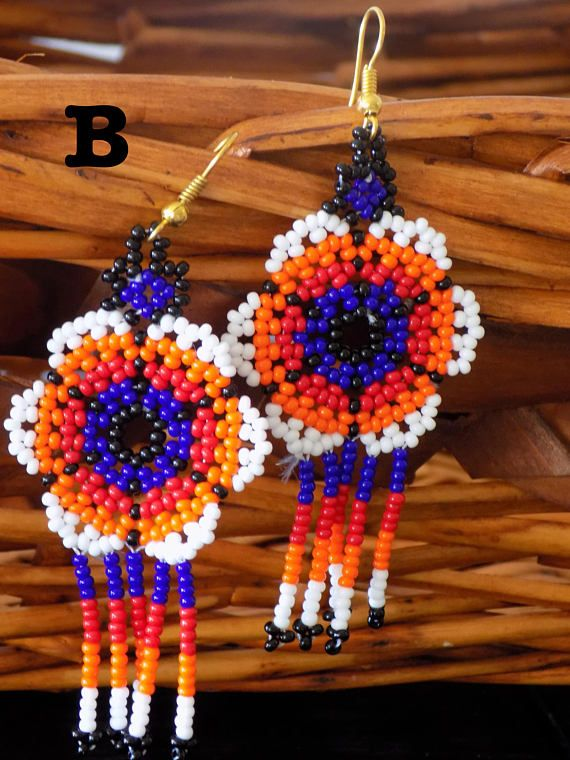 c7c57782c60296 Mexican Handcrafted Artisanal Earrings - Hand Beaded Dangle Chandelier Style  Perfect Stocking Stuffer or Gift for