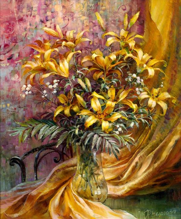 Floral bouquets by Russian artist Rima Vjugovey Paintings