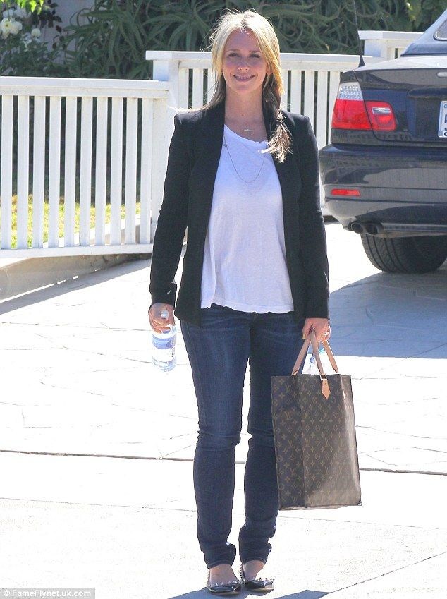 Confident and lean: Jennifer Love Hewitt enjoyed a walk in the sunshine on Wednessday in Los Angeles