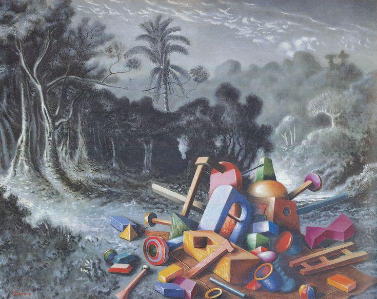 Objets dans la forêt by Alberto Savinio, 1928