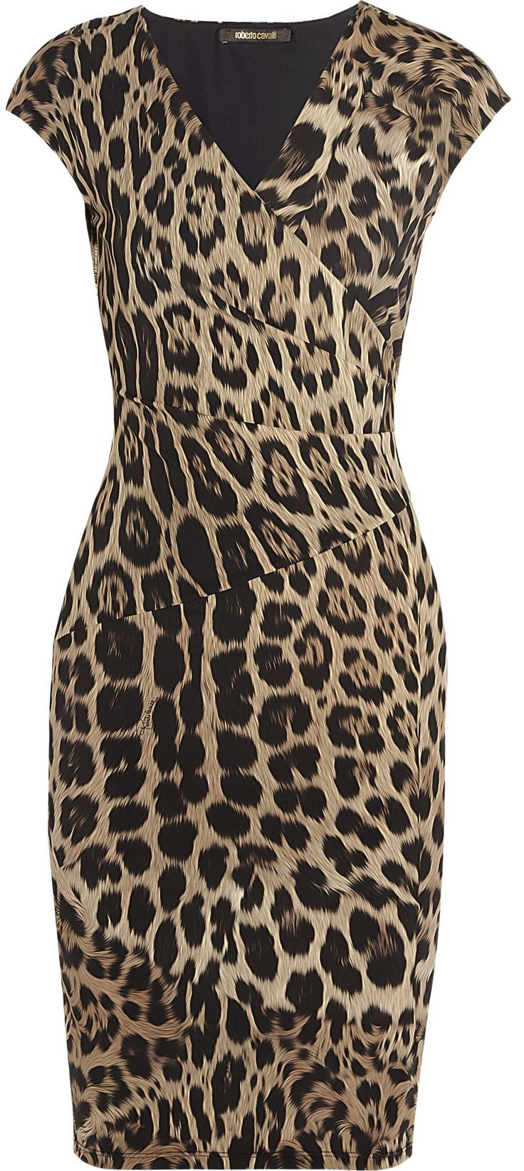 Roberto Cavalli animal print body con dress