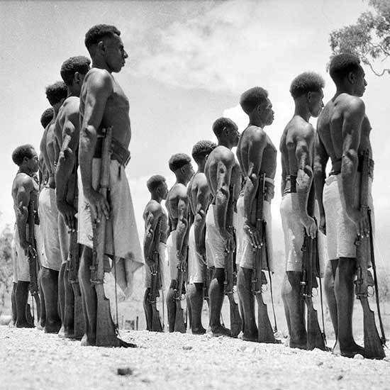 Warriors of the Papuan Infantry Battalion. The great majority of the 18,000 New Guineans who participated in the campaign did so as carriers of supplies for the Allies, though 800 men from the Papuan Infantry Battalion and the Royal Papuan Constabulary fought against the Japanese in 1942.