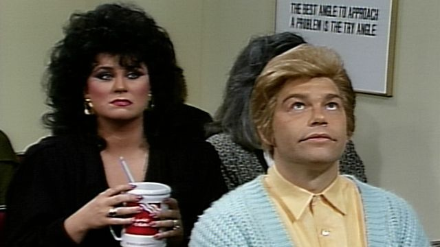 A Weight Watchers meeting has assembled a group of disparate people including portion-counting Amanda (Delta Burke), Officer Ned Crowley (Chris Farley), whiny Bethany (Victoria Jackson) and touchy-feely Stuart Smalley (Al Franken). [Season 19, 1991]
