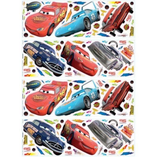 Disney - Disney Cars/Bilar Wallies Wall Stickers 76-Pack