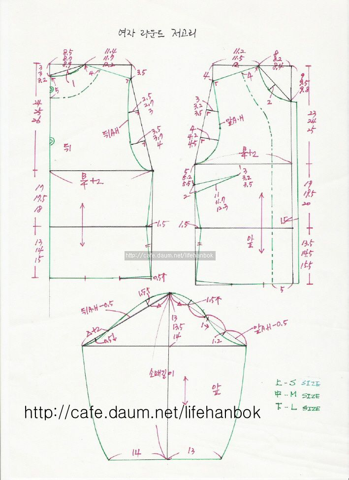 여자 라운드 저고리 패턴 - 여자생활한복패턴 - 맨드리생활한복