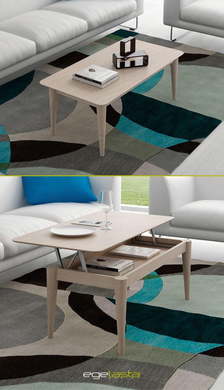 Muebles · egelasta · live · mueble · madera · moderno · mesa de centro elevable con patas cónicas · roble nórdico